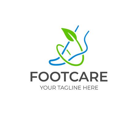 Création de logo de soins des pieds. Cheville et branche verte avec dessin vectoriel de feuilles. Logotype de pied sain Logo