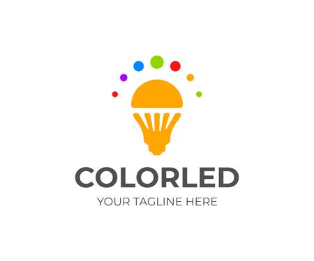 LED light bulb logo design. LED lamp vector design. LED lighting logotype