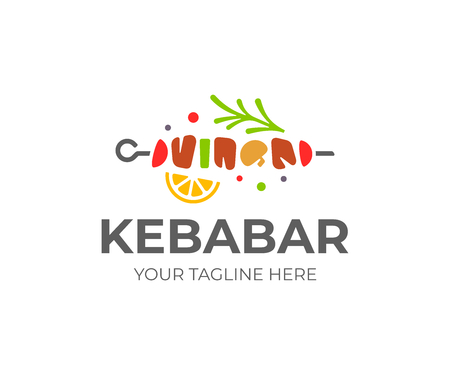 Shish kebab logo design. Meat skewer with vegetable vector design. Grilled meat skewers logotype Illustration