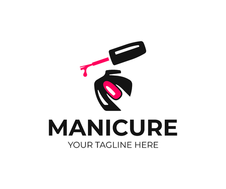Projektowanie logo salonu paznokci. Projekt wektor manicure. Logotyp lakieru do paznokci i kobiecego palca Logo