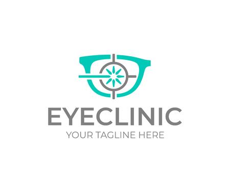 Laser eye surgery logo design. Eye clinic vector design. Glasses and laser sight logotype Illustration