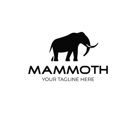 Diseño de logotipo de mamut. Diseño de vectores animales antiguos. Logotipo de animal extinto
