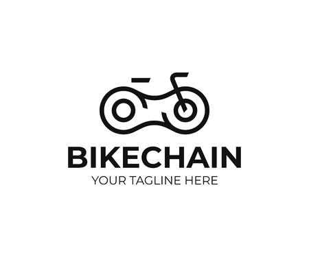 Diseño de logotipo de cadena de bicicleta. Diseño de vector de arte de línea de bicicleta. Logotipo de piezas de bicicleta Logos