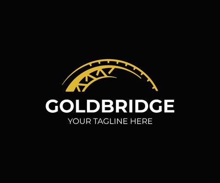 Diseño de logo de puente dorado. Diseño de vector de puente abstracto. Logotipo de construcción de puentes