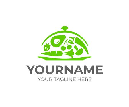 Serving services logo design. Steel food cloche with vegetables vector design. Waiter logotype