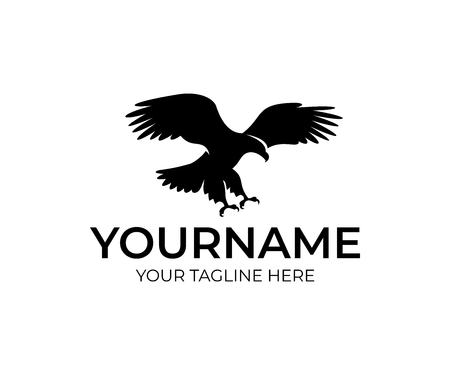 Flying eagle, bird and animal, logo design. Wildlife, nature and wild, vector design and illustration