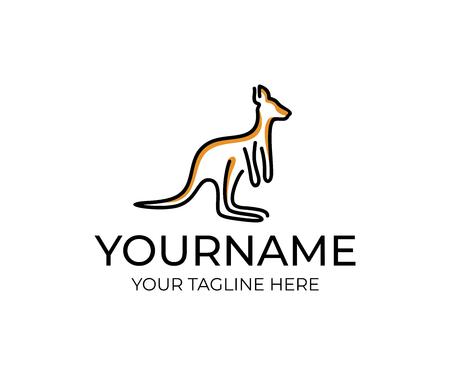 Canguro animal lineal, diseño de logotipos. Vida silvestre, naturaleza, salvaje, diseño e ilustración vectorial
