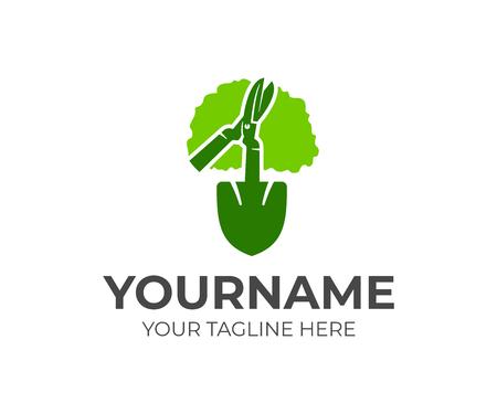 Herramientas de jardinería, árbol, herramientas de jardinería, pala, diseño de logotipos. Agricultura, agricultura y naturaleza, diseño e ilustración vectorial