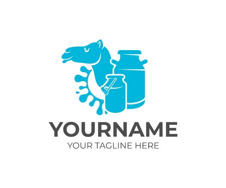 Camello, latas de leche y leche splash, diseño de logotipos. Granja lechera, granja lechera, cría de ganado y ganadería, diseño e ilustración vectorial