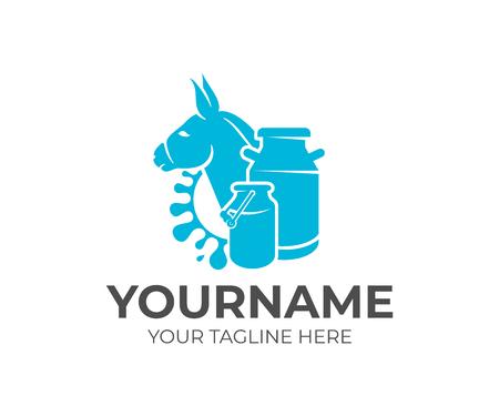 Donkey, milk cans and milk splash, logo design. Dairy farm, milk farm, cattle breeding and stock raising, vector design and illustration Vectores