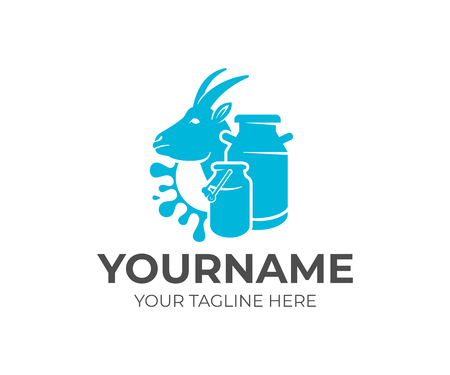 Goat, milk cans and splash milk, logo design. Dairy farm, milk farm, cattle breeding and stock raising, vector design and illustration