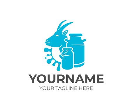 Goat, milk cans and splash milk, logo design. Dairy farm, milk farm, cattle breeding and stock raising, vector design and illustration