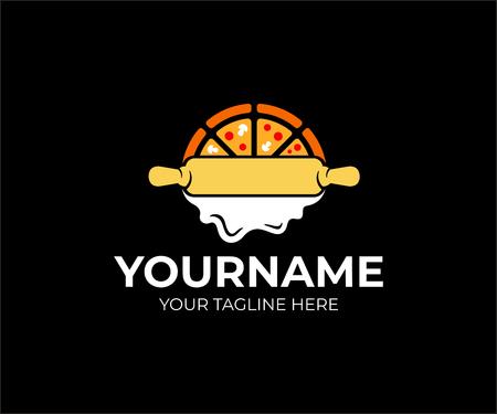 Pizza e mattarello con pasta di rotolamento, logo design. Cibo, pizzeria e fast food, disegno vettoriale e illustrazione