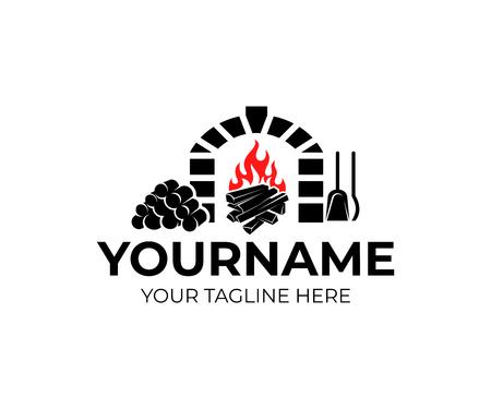 Cheminée, bois de chauffage, bois de chauffage et feu de joie avec un tisonnier et une pelle, création de logo. Chauffage, intérieur, maison et confort Logo