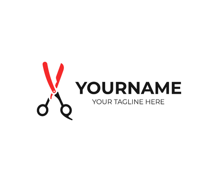 Barbershop logo design. Barber blade and scissors vector design. Hairdressing salon logotype Çizim