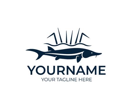 Jesiotr ryby i wędkarstwo, projektowanie logo. Kawior z jesiotra, jedzenie, przyroda i dzika przyroda, projekt wektorowy i ilustracja