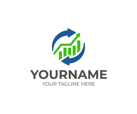 Graph chart and exchange logo design. Financial operations vector design. Business and finance logotype