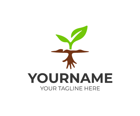 Sprout with hand roots logo design. Plant on the ground vector design. Green growth logotype