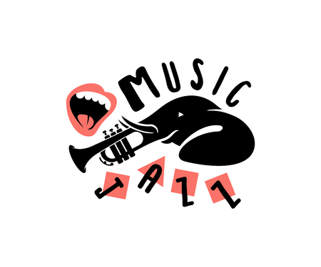 Elephant animal, trunk-trumpet instrument and mouth, print typography design. Music, melody, jazz and apparel