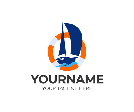 Sailing, sailboard, regatta, yacht in a lifebuoy and waves, logo design. Marine, sea, ocean, river and nautical, vector design and illustration