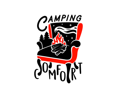 Typography, armchair, bonfire, forest and starry sky, logo design. Camping, comfort, rest, relaxation, recreation and recreation, vector design
