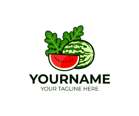 Fruits and berries, watermelon and slice or piece of watermelon with leaves, logo design. Organic food, vegetarian, healthy food, vector design and illustration