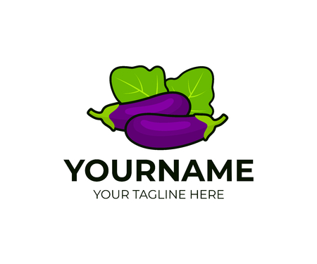 Eggplants vegetables with leaves, logo design. Organic food, vegetarian, healthy food, vector design and illustration