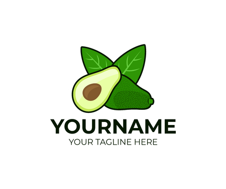 Avocado fruit and half with leaves, logo design. Organic food, vegetarian, healthy food, vector design and illustration