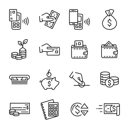 Einfacher Satz linearer Geld- und Finanzvektorikonen. Enthält solche Umriss-Vektorsymbole wie Geld, Brieftasche, kontaktloses Bezahlen, Hand mit einer Münze und andere