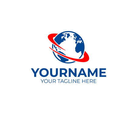 Logistic, planet earth with spin or swirl around it, logo design. Logistics, vector design and illustration