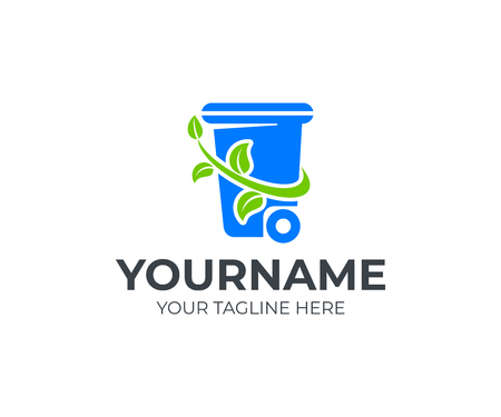 Recycle and waste disposal, logo design. Ecology, environment and earth protection from pollution, vector design and illustration Çizim