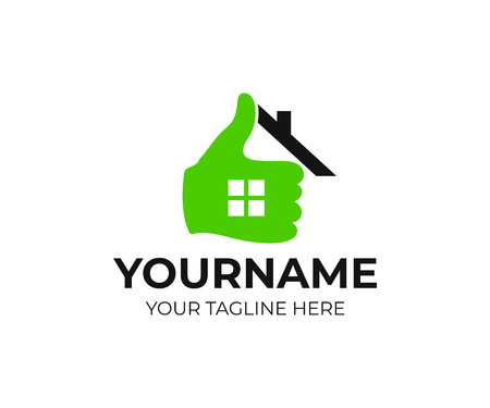 Real estate, home, house, hand and thumb up, logo design. Realtor, real property and construction, vector design and illustration