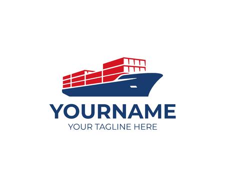 Création de logo de navire cargo. Conception de vecteur de porte-conteneurs. Logotype de bateau d'expédition Logo