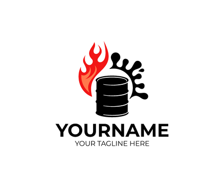 Barrel of oil, fire and splash of oil, logo design. Industry, mining, vector design Çizim
