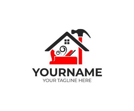 Bouw en gereedschappen, timmerman of schrijnwerker vliegtuig, hamer en huis logo ontwerp. Woningbouw, onroerend goed, reparatie en verbetering