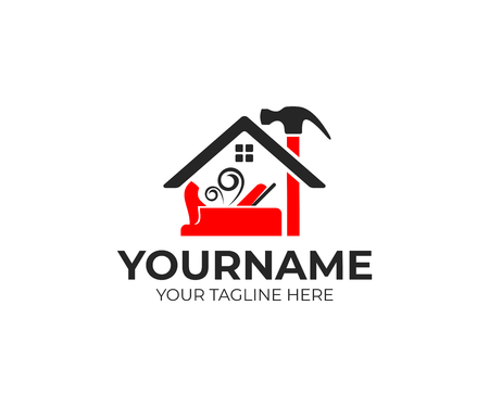 Construction and tools, carpenter or joiner plane, hammer and home logo design. House building, real estate, repair and improvement Stockfoto - 122375476