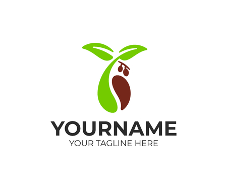 Coffee beans, sprout, leaves with fruits, logo design. Food, drink, hot beverage and coffee house, vector design and illustration