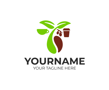 Coffee beans, cup and paper cup, logo design. Food, drink, hot beverage and coffee house, vector design and illustration Çizim