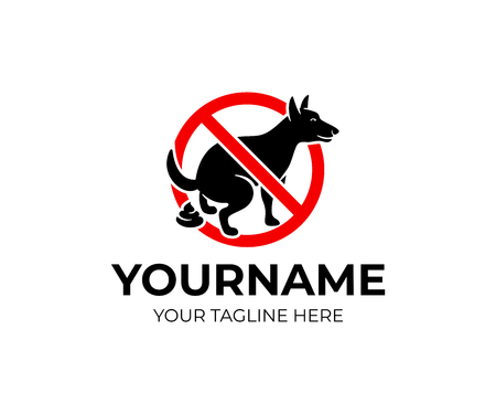 After your dog, logo design. Animal, pet, prohibition and warning signs, vector design and illustration Stock Vector - 122375486