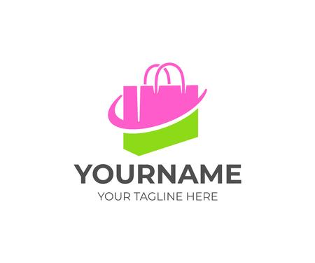 Bolso de compras o bolso, paquete y tienda online, diseño de logo. Empaque, tienda o tienda, comercio minorista, centro comercial, diseño e ilustración vectorial Logos