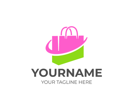 Shopping bag or handbag, package and online shop, logo design. Pack, store or shop, retail, shopping center, vector design and illustration