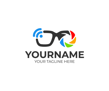 Smart glasses with lens and shutter, wifi. logo design. Technology, camera, video and accessories