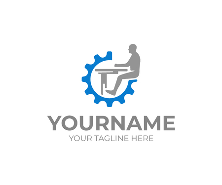 Workplace logo design. Worker sits at the table in the gear wheel vector design. Freelancer logotype