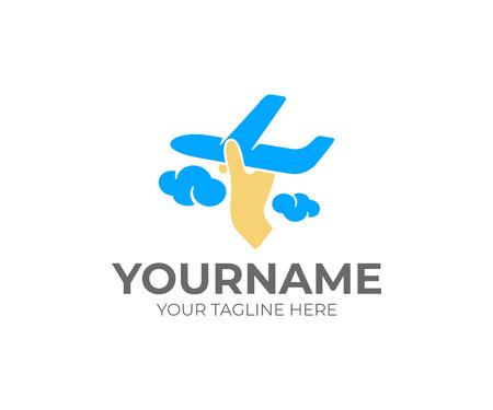 Mano lanza un avión en las nubes, diseño de logotipos. Vuelo en avión, aerolínea, viajes, protección y comodidad, diseño e ilustración vectorial