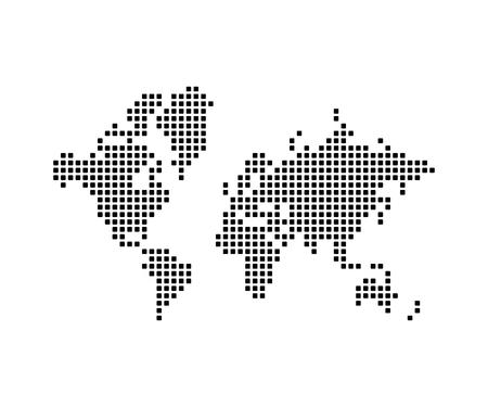 Mapa del mundo de píxeles, diseño. Planeta tierra continentes y océanos, diseño e ilustración vectorial