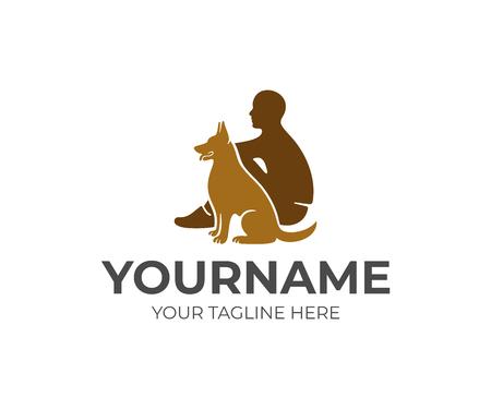 Soins aux animaux de compagnie, homme et chien, création de logo. Animal, refuge pour animaux et clinique, conception et illustration vectorielles