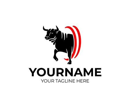 Toro agresivo va, mascota y animal, diseño de logotipos. Granja, agricultura, rancho y ganado, diseño e ilustración vectorial