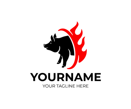 Grill and fast food, pig and fire, logo design. Animal and pet food Çizim