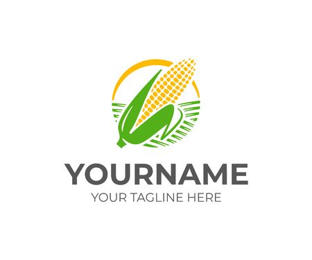 Ear of corn logo design. Maize crop vector design. Corn farming logotype Çizim