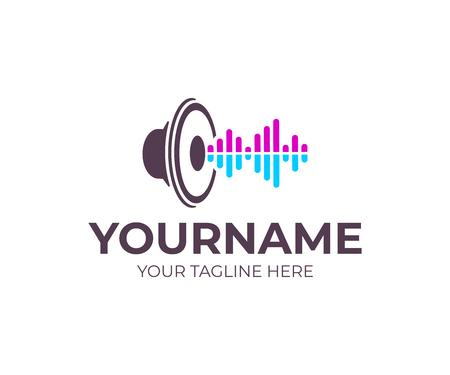 Musik, Lautsprecher mit Schallwellen, Logo-Design. Musical, Woofer, Subwoofer und Lautsprecher, Vektordesign und Illustration Logo